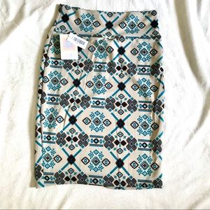 Lularoe Cassie Skirt Turquoise & Brown Print